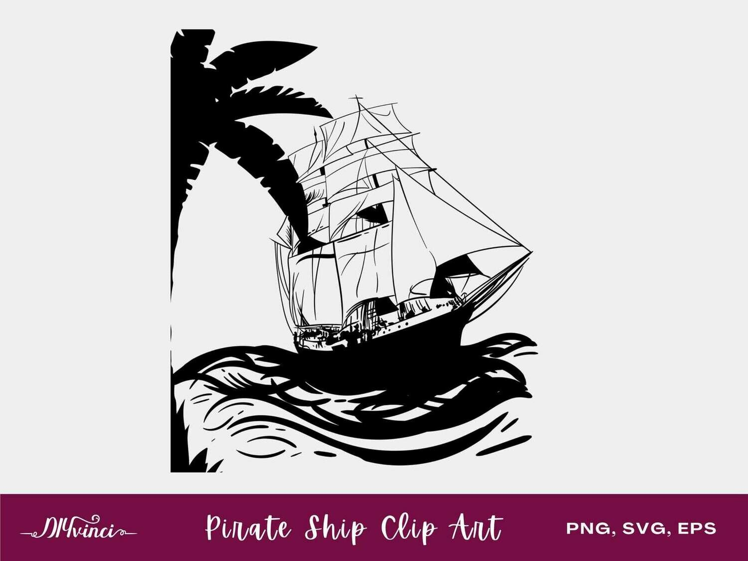 Pirate Ship Clip Art - PNG, SVG, EPS - Personal & Commercial Use