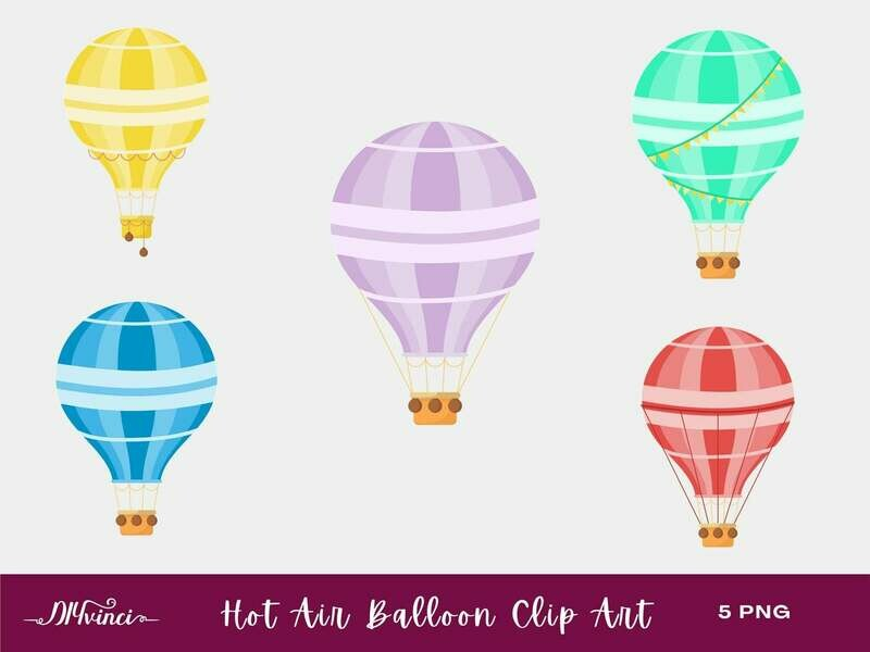 5 Hot Air Balloons Clip Art - PNG - Personal & Commercial Use