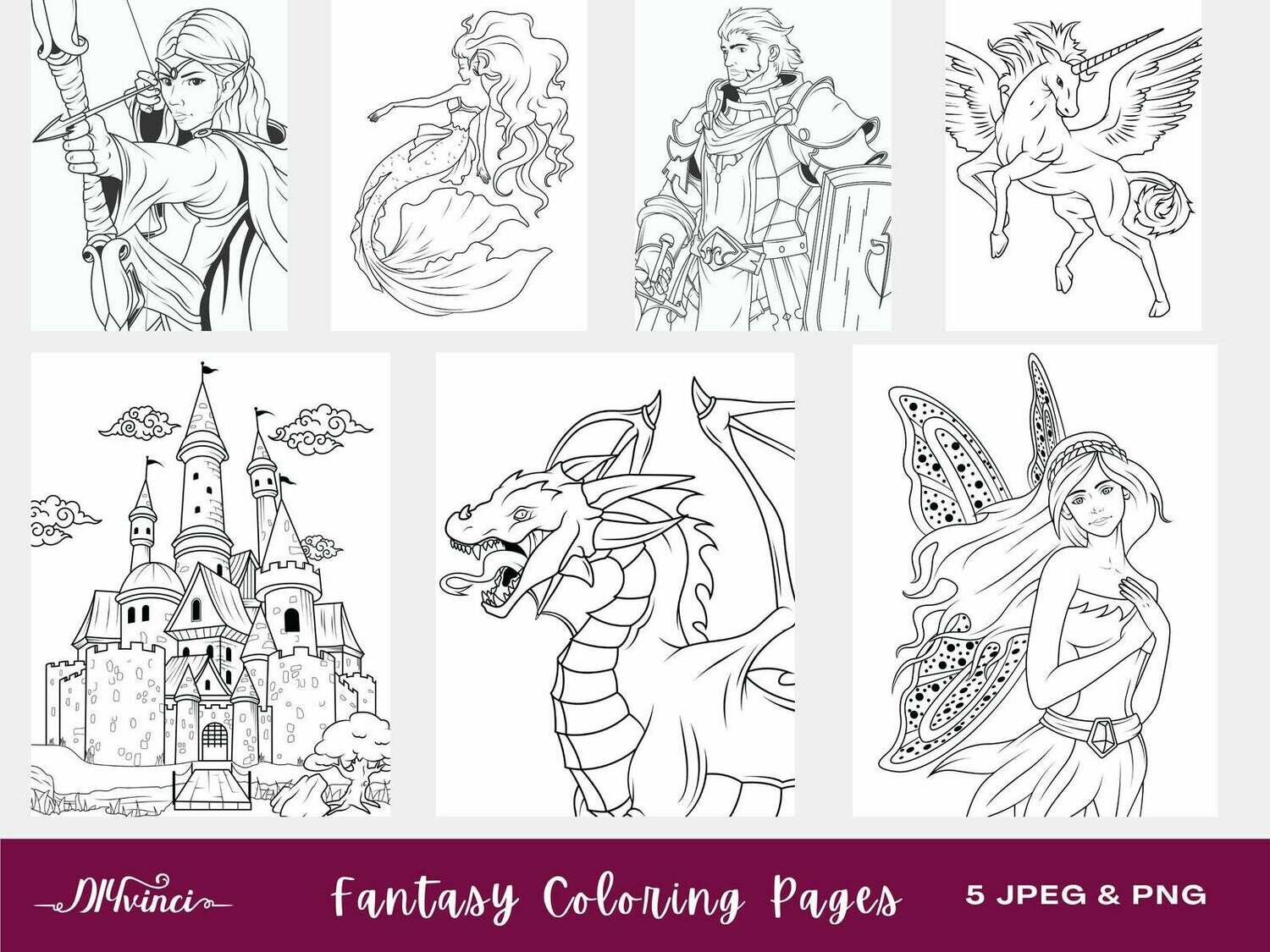 7 Printable Fantasy Coloring Pages - JPEG - Personal & Commercial Use