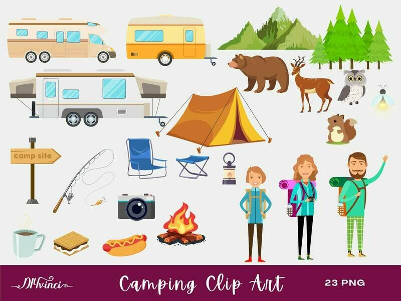 Camping Clip Art - 23 PNG - Personal & Commercial Use