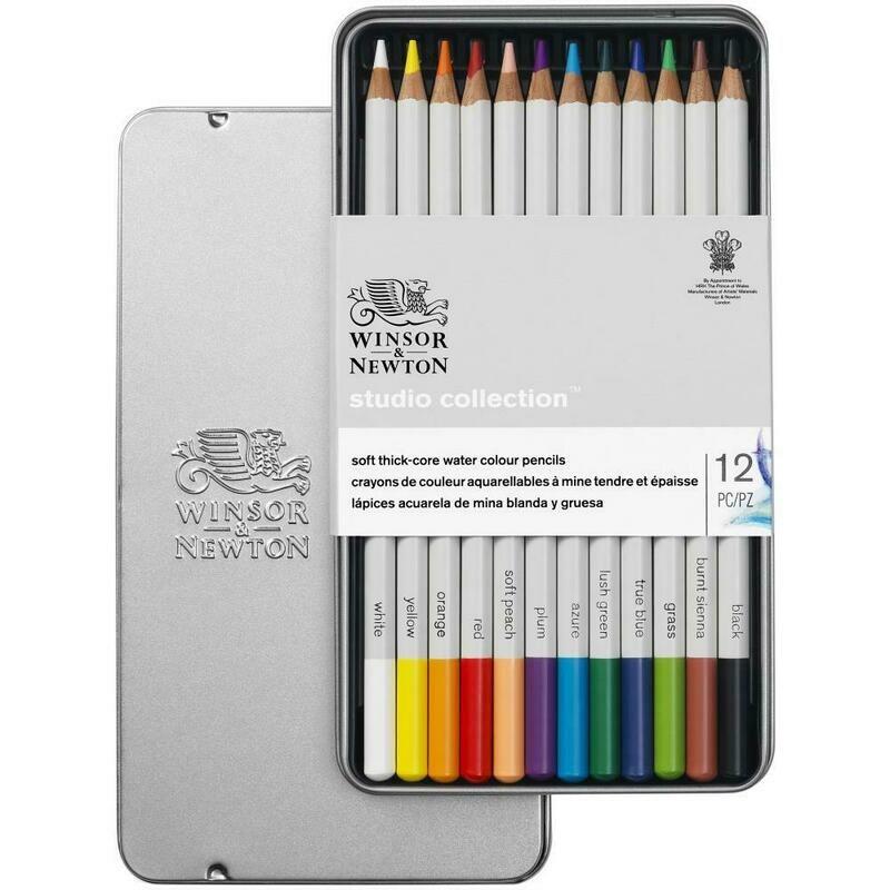 Winsor & Newton Studio Collection Watercolor Pencil Tin Set of 12