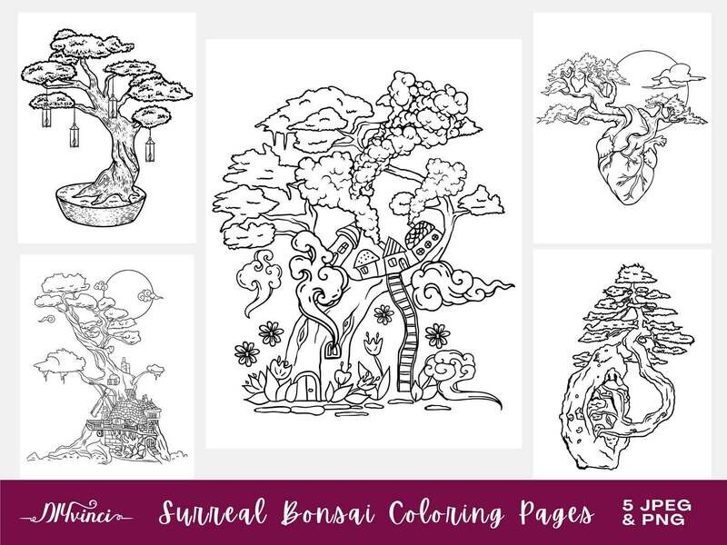 5 Printable Surreal Bonsai Coloring Pages - JPEG, PNG - Personal & Commercial Use