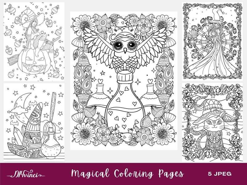 Printable Magical/Witch Coloring Pages - 5 JPEG - Personal & Commercial Use