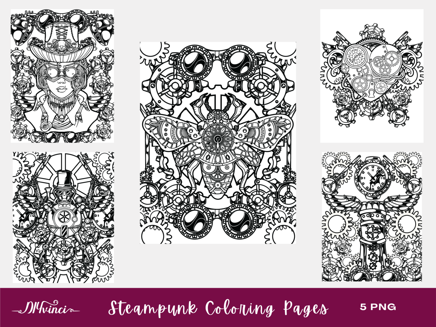 5 Steampunk Printable Coloring Pages - PNG - Personal and Commercial Use