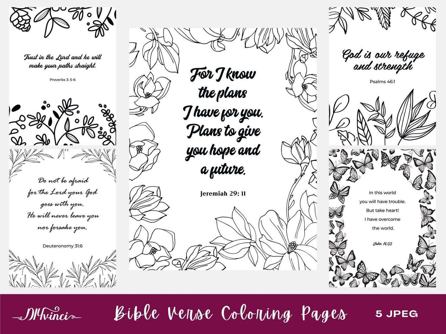 Printable Bible Verse Coloring Pages - 5 JPEG - Personal & Commercial Use