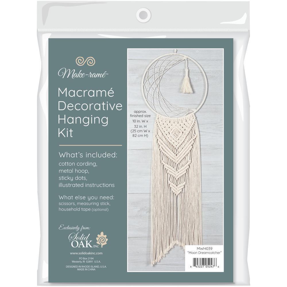 Solid Oak Macrame Kit - Moon Dreamcatcher