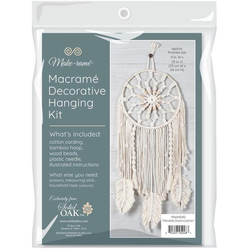 Solid Oak Macrame Kit - Mandala Dreamcatcher
