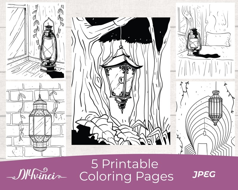 Lantern Printable Coloring Pages - 5 JPEG - Personal and Commercial Use