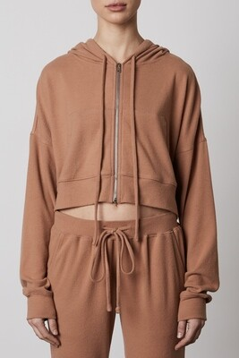 NIA - cropped zipped up hoodie