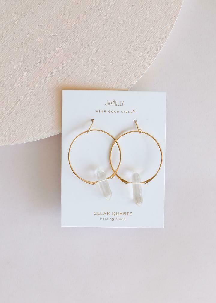 jaxkelly - quartz hoop earring