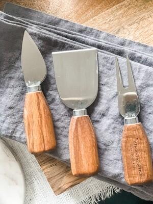 stainless steel/wood cheese servers