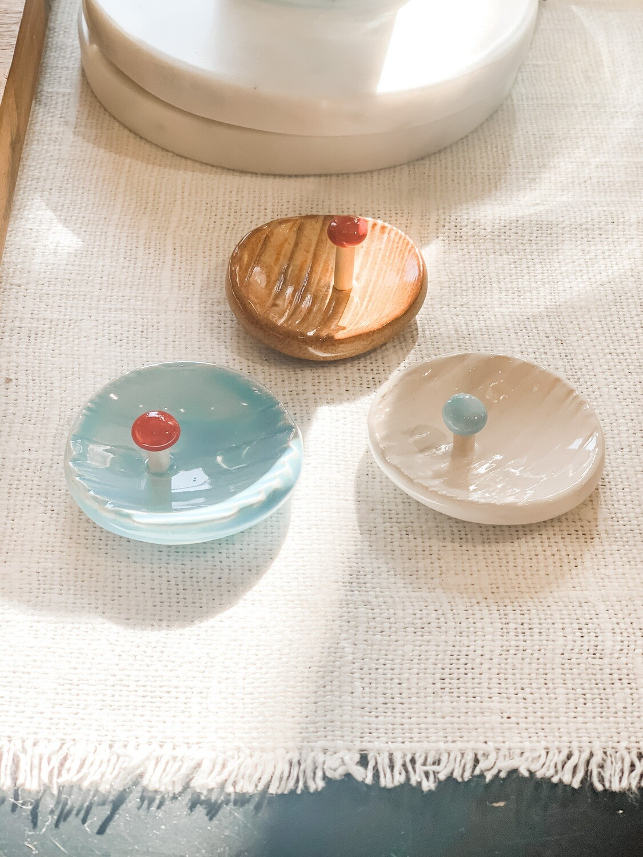 tiny mushroom jewelry dish
