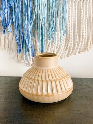 Round Stoneware Vase - Cream