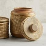 Terracotta Jar with Wood Lid