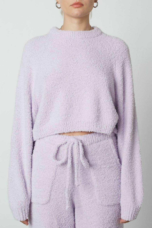 NiA - Cropped Raglan Sweater in Lilac