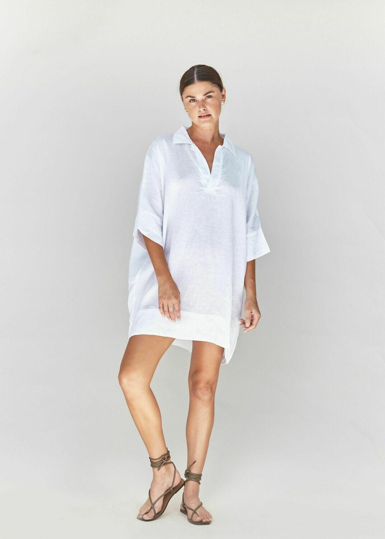 ACACIA - Esme linen dress in Ivory