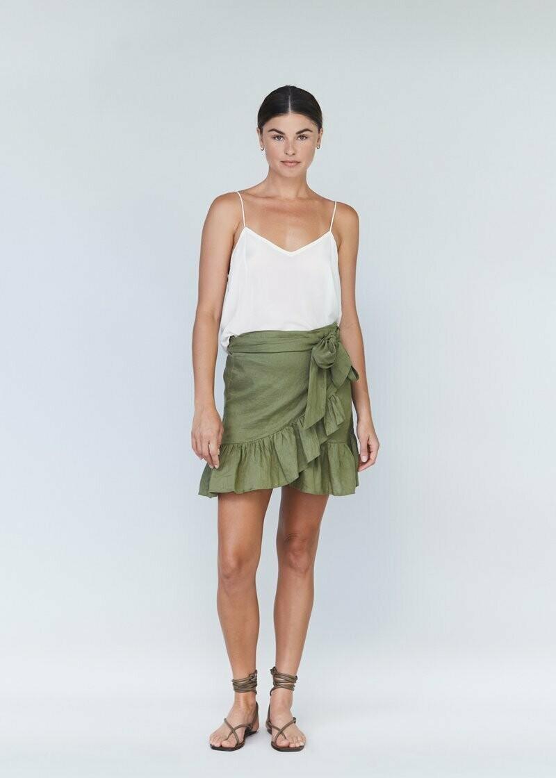 acacia - simone linen skirt in jet