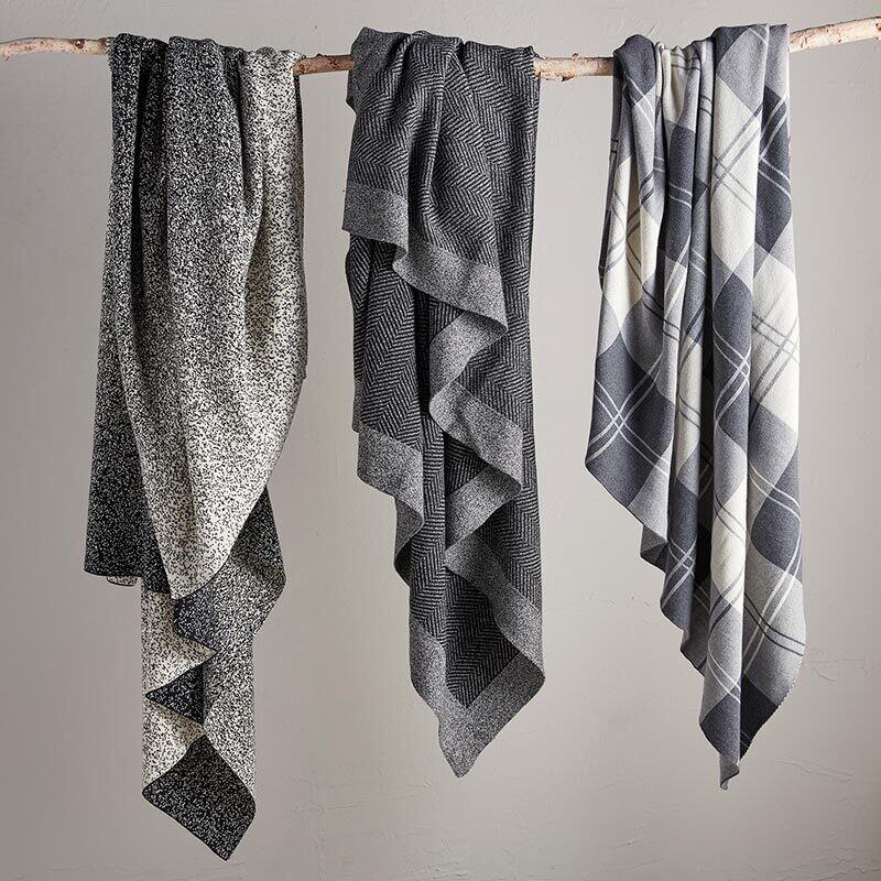 Herringbone Throw - Black and Gray