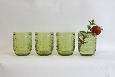 Embossed Drinking Glass - Green