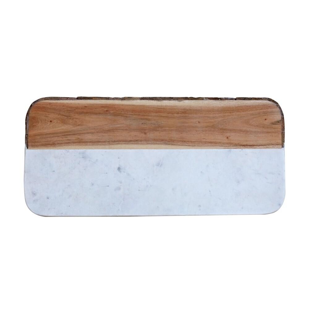 White Marble + Mango Wood Cheese Board with Bark Edge