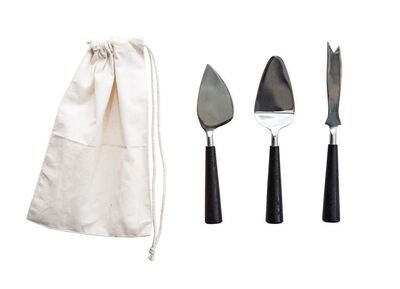 Stainless Steel + Wood Cheese Set