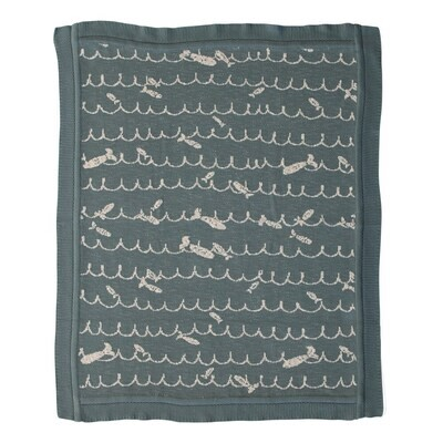 cotton knit baby blue blanket - fish
