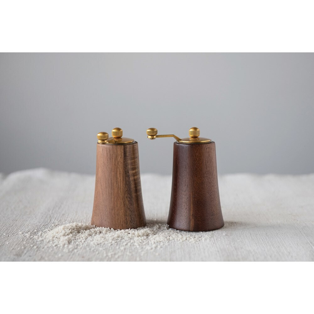 Acacia Wood + Stainless Steel Salt + Pepper Mills with Gold Finish - Set of 2