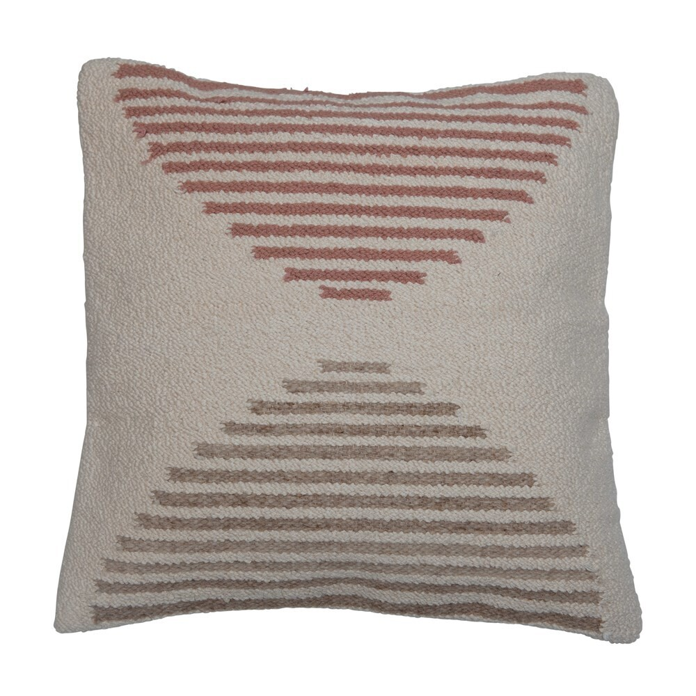 "20"" Woven Cotton Pillow - Dusty Rose + Grey + Cream"