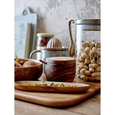 Acacia Wood Salt Cellar with Spoon