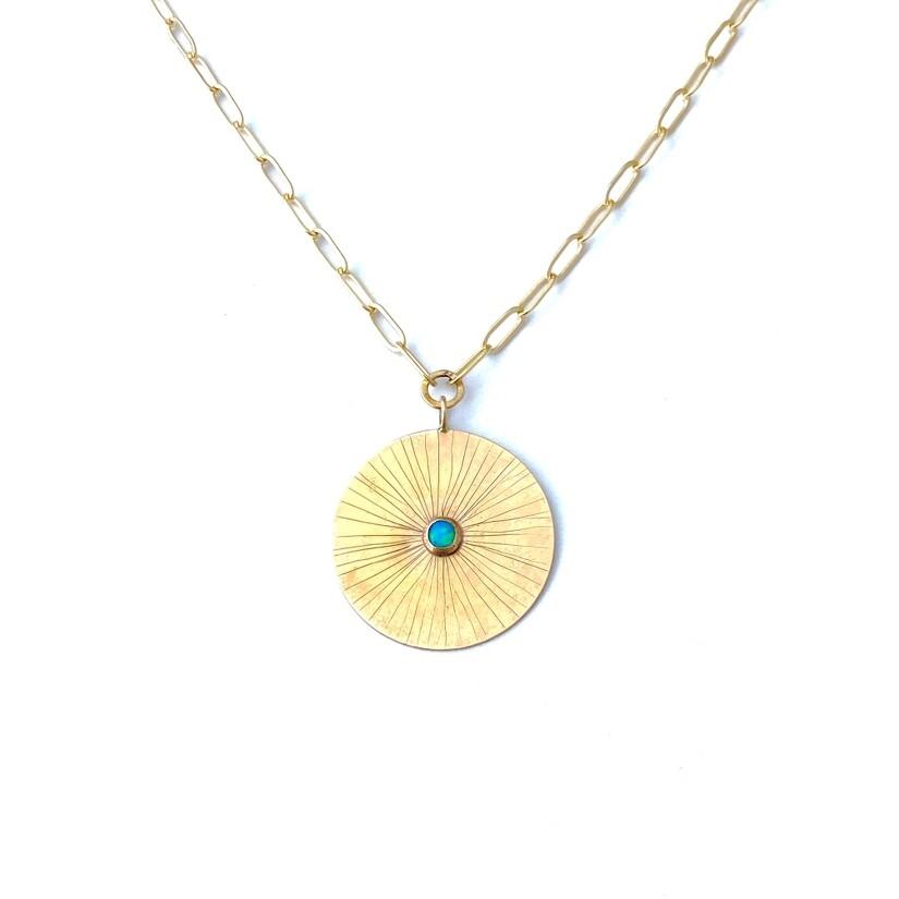 CLP - Bronze Disk + Opal Necklace