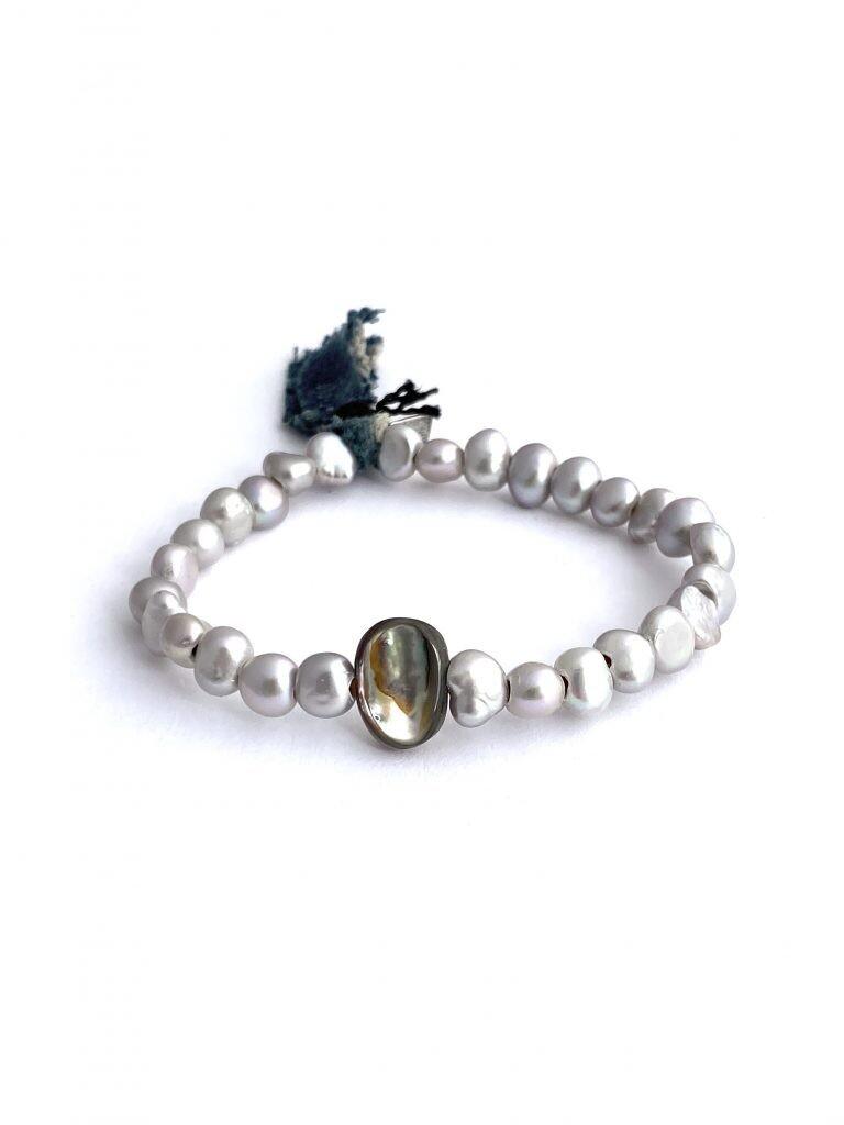 CLP - Gray Pearl + Abalone Bracelet
