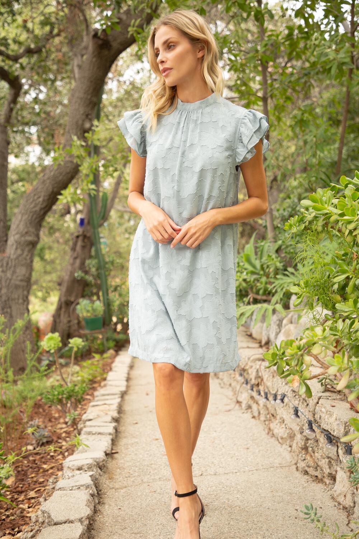VOY - Anima Ruffle Sleeve Burnout Dress