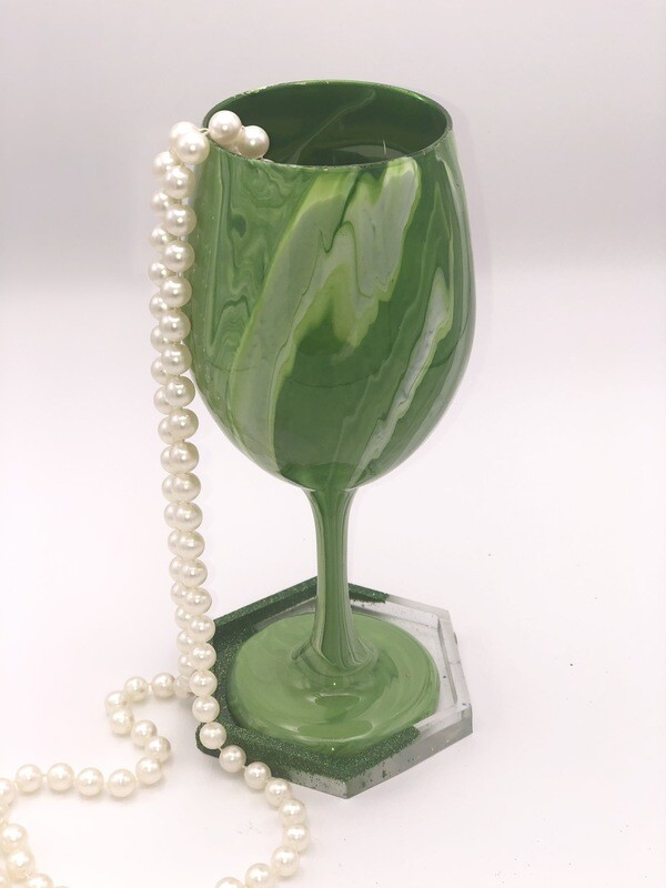 Green & White Stemmed Wine Glass With Coaster