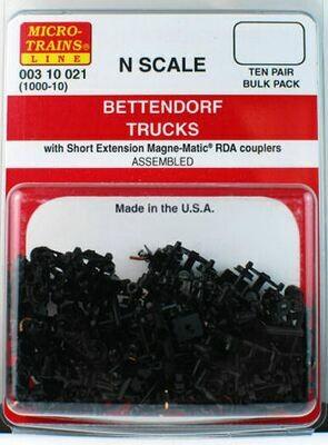 N Scale Bettendorf Trucks Bulk Pack w/ Short Ext. Couplers