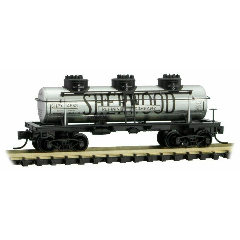 "'N' 39"" 3 Dome Tank Car - Sherwood Refining Co #4553"