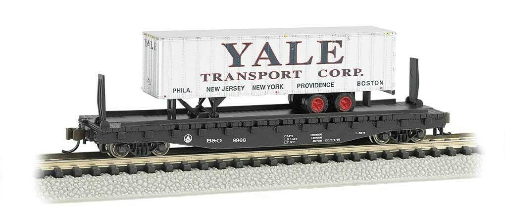 """Bachmann 'N' 52'6"""" Flat Car  ACL w/ Yale Trailer"""
