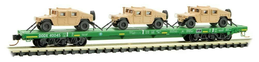 N Scale DODX 'Cascade Green' 3 Pack w/- Humvees