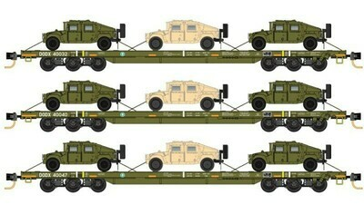 N DODX 'Olive Drab' w/- 3 Pack Flatcar with Humvees