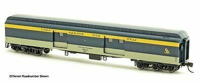 N Scale 70' Heavyweight Baggage Car Cl Roof, 6 Wheel Trucks - C&O #280