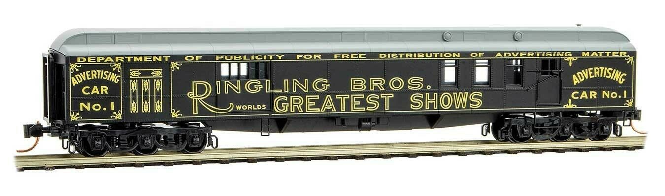 "N Scale 70"" Heavyweight Mail/Baggage Car - Ringling Bros Advert car #1"