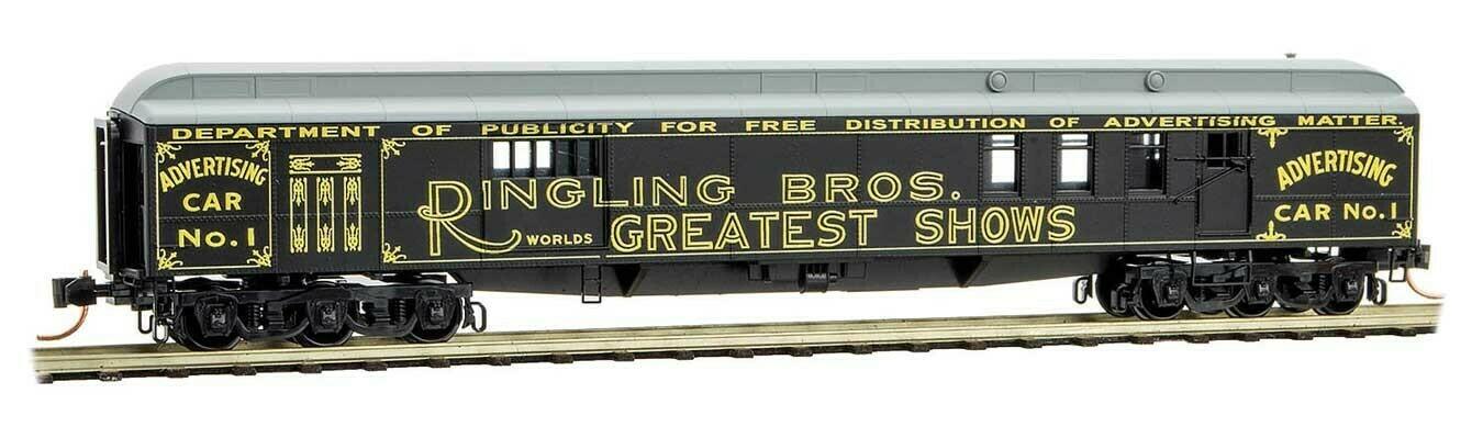 "N Scale 70"" Heavyweight Mail/Baggage Car - Ringling Bros Advert car #1"