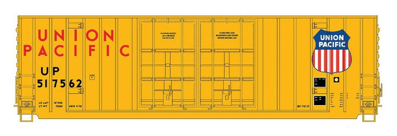 N Scale 50' Gunderson BoxCar - Double Door - UP #517562