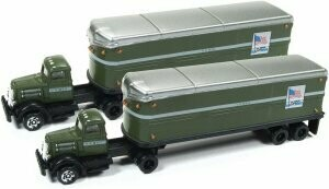 N Scale White WC 22 Tractor/Trailer Set - US Mail  2 pack