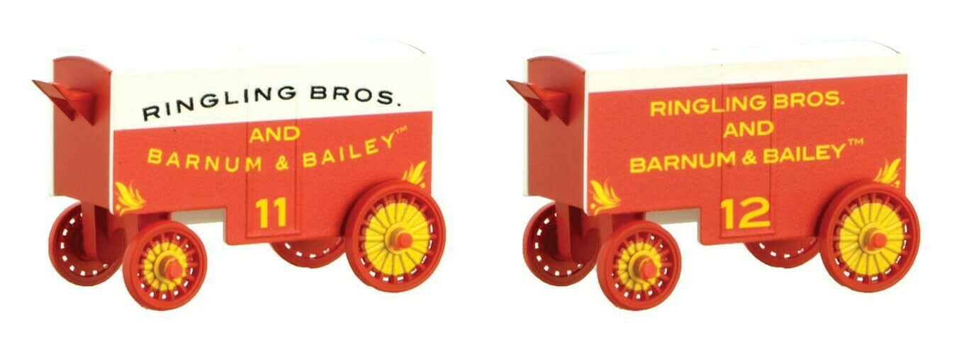 N Scale 15' Closed Vintage Wagons Ringling Bros & B&B Circus 2/ pk. #11 & 12