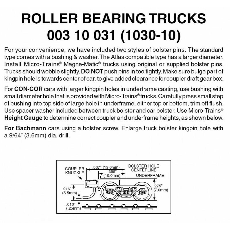 'N' Roller Bearing Trucks w/short coupler-Bulk Pack (10)