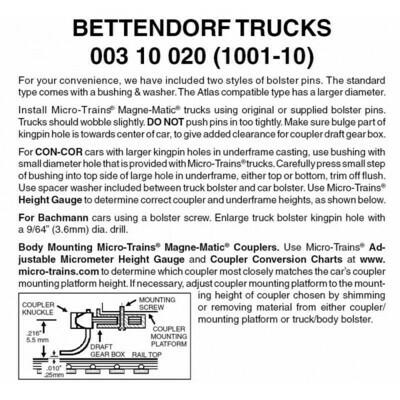 'N' Bettendorf Trucks w/o coupler-Bulk Pk