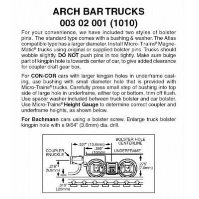 'N' Arch Bar Trucks w/ short coupler -1 pr.