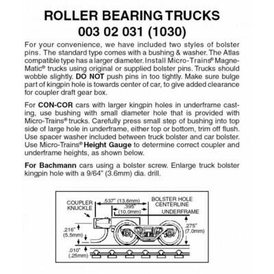 'N' Roller Bearing Trucks w/ short coupler