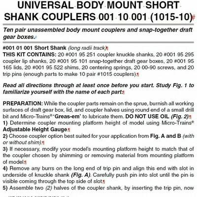 'N' Bulk Pack unassembled RDA body mount (1015) short shank couplers