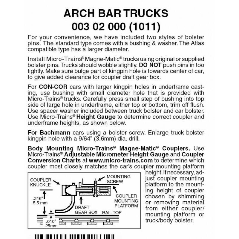 'N' ArchBar Trucks w/o coupler